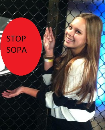 Julia with Stop Sopa sign