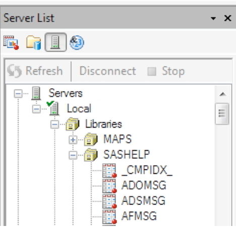 Server list in Enterprise Guide