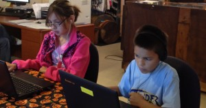 Kids playing math game