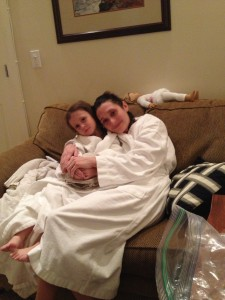 Maria and Eva cuddled up
