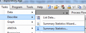 Tasks to Summary statistics
