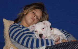 Julia and Mochi the dog asleep