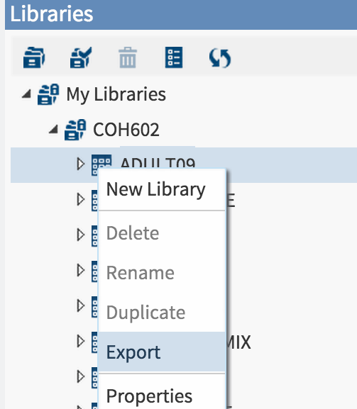 export option  from  libraries