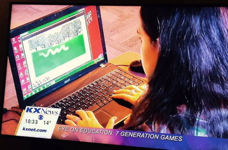 Girl on TV playing game