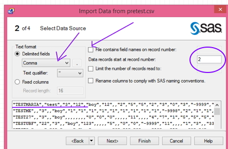 boxes to check in import data menu