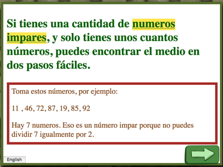 explanation of median in Spanish