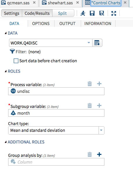 Control charts window with month as subgroup and undisc as measure