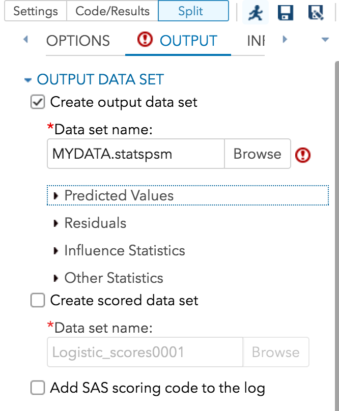 create output data set