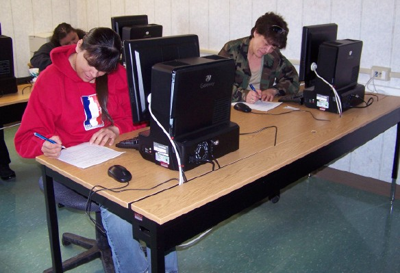 students at desk