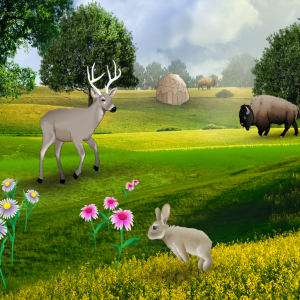 Making Camp scene with buffalo, deer and rabbit